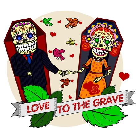 Una pareja de enamorados cogidos de la mano mientras está acostado en ataúdes. Vector plana y lineal Ilustración de esqueleto. web banners, anuncios, folletos, plantillas del negocio. Aislado en un fondo blanco.