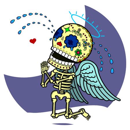 Love Angel llorando de rodillas y pide perdón. Vector plana y lineal Ilustración de esqueleto. web banners, anuncios, folletos, plantillas del negocio. Aislado en un fondo blanco.