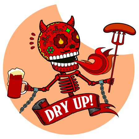 Demon with a mug of beer and grilled sausages on a trident. Vector flat and linear Illustration of skeleton. Web banners, advertisements, brochures, business templates. Isolated on a white background.
