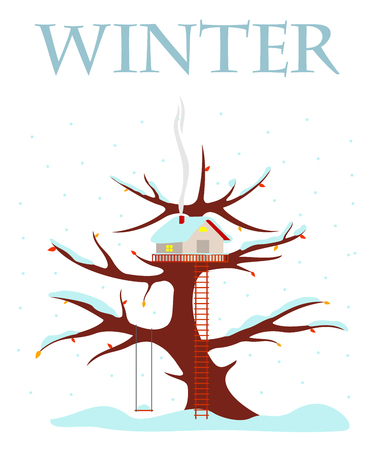 Tree house vector illustration in flat style. Hut on the tree. Snow on the branches and the roof of the house. Falling snowflakes. Advertisements, signs, stickers. Isolated on a white background