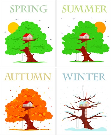 snow tires: Tree house vector illustration in flat style. Hut on the tree. Spring, summer, autumn, winter. Falling snowflakes. Advertisements, signs, stickers. Isolated on a white background