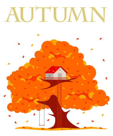 autumn tree: Tree house vector illustration in flat style. Hut on the tree. Autumn tree with red, orange and yellow leaves. Leaf fall. Golden autumn. Advertisements, signs, stickers. Isolated on a white background