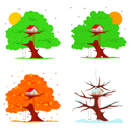 Tree house vector illustration in flat style. Hut on the tree. Spring, summer, autumn, winter. Falling snowflakes. Advertisements, signs, stickers. Isolated on a white background