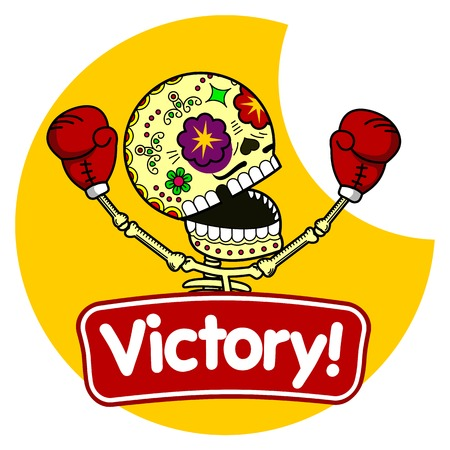 Boxer winner. Long Live the Victory.Vector flat and linear Illustration of skeleton. Web banners, advertisements, brochures, business templates. Isolated on a white background.