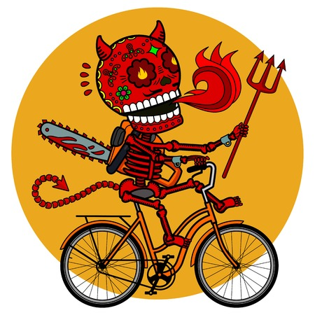 Demon with a chainsaw and a trident riding a bicycle. Vector flat and linear Illustration of skeleton. Web banners, advertisements, brochures, business templates. Isolated on a white background. Illustration
