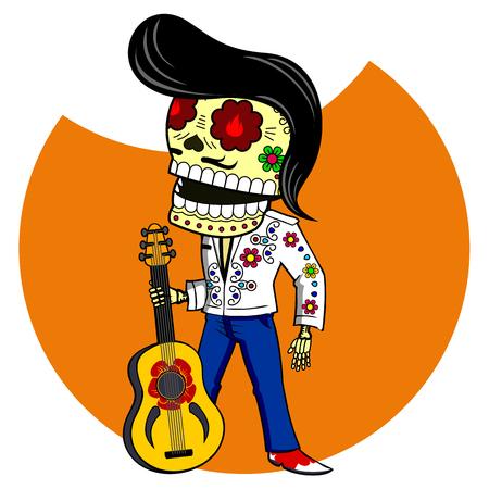 Musicus met de gitaar. Elvis King of Rock and Roll. Vector platte en lineaire Illustratie van skelet. Web banners, advertenties, brochures, zakelijke sjablonen. Geïsoleerd op een witte achtergrond.