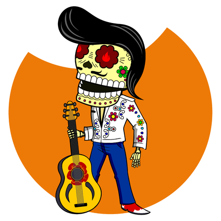 Musician with the guitar. Elvis King of Rock and Roll. Vector flat and linear Illustration of skeleton. Web banners, advertisements, brochures, business templates. Isolated on a white background.
