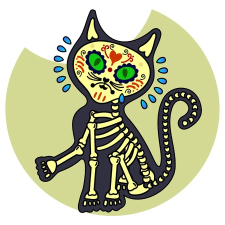 Crying kitten. Vector flat and linear Illustration of skeleton. Web banners, advertisements, brochures, business templates. Isolated on a white background.