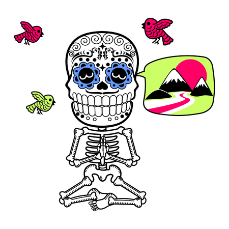 Man meditating in the lotus position. Calaveras. Vector flat and linear Illustration of skeleton. Web banners, advertisements, brochures, business templates. Isolated on a white background. Illustration