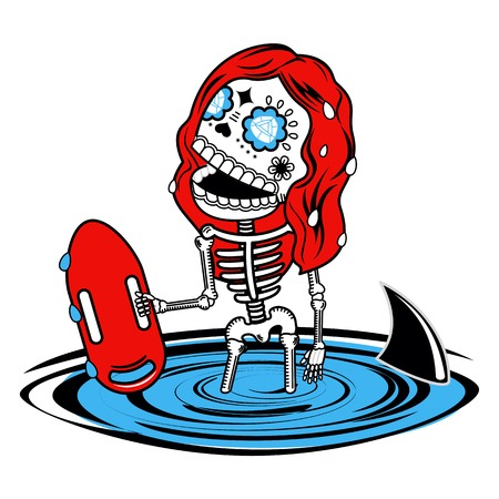 floatation: Girl baywatch. Calaveras. Vector flat and linear Illustration of skeleton. Web banners, advertisements, brochures, business templates. Isolated on a white background.