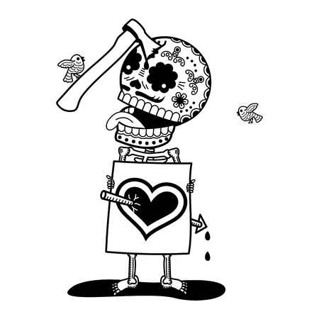 A man with an arrow in the heart and with an ax. Calaveras. Vector flat and linear Illustration of skeleton. Web banners, advertisements, brochures, business templates. Isolated on a white background. Illustration