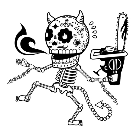 Demon with a chainsaw. Calaveras. Vector flat and linear Illustration of skeleton. Web banners, advertisements, brochures, business templates. Isolated on a white background.
