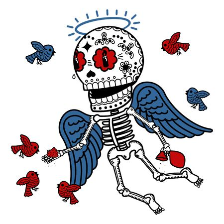Angel feeding birds crumbs. Calaveras. Vector flat and linear Illustration of skeleton. Web banners, advertisements, brochures, business templates. Isolated on a white background. Illustration