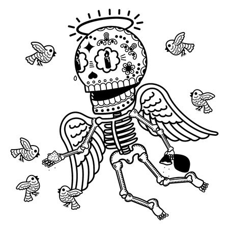 angel alone: Angel feeding birds crumbs. Calaveras. Vector flat and linear Illustration of skeleton. Web banners, advertisements, brochures, business templates. Isolated on a white background. Illustration