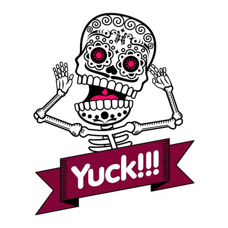 Vecteur plat et linéaire Illustration du squelette. Les émotions humaines, surprise, la joie, la peur. bannières Web, des publicités, des brochures, des modèles d'affaires. Isolé sur un fond blanc. Vecteurs