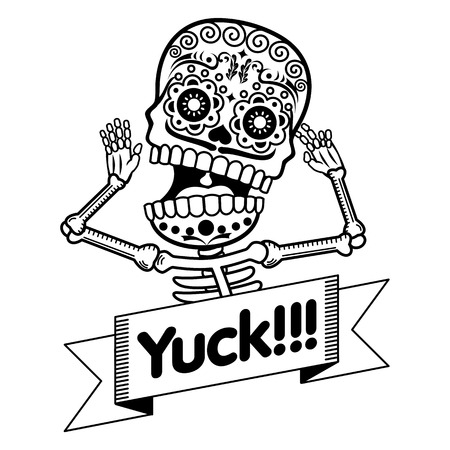 Vector flat and linear Illustration of skeleton. Human emotions, surprise, delight, fear. Web banners, advertisements, brochures, business templates. Isolated on a white background.