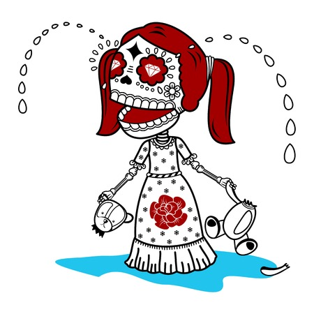 Vector flat and linear Illustration of skeleton. Girl cries with a broken toy teddy bear. Human emotions. Web banners, advertisements, brochures, business templates. Isolated on a white background.