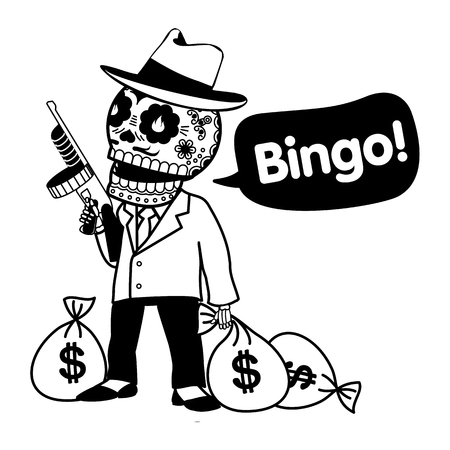 tommy: Vector flat and linear Illustration of skeleton. Gangster with Tommy gun and bags of money. Web banners, advertisements, brochures, business templates. Isolated on a white background.