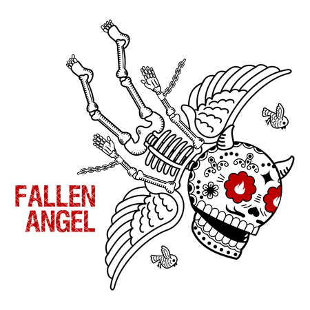 Vector flat and linear Illustration of skeleton. Fallen angel. Demon in chains on a red background. Web banners, advertisements, brochures, business templates. Isolated on a white background.