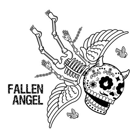 Vector flat and linear Illustration of skeleton. Fallen angel. Demon in chains on a red background. Web banners, advertisements, brochures, business templates. Isolated on a white background.  イラスト・ベクター素材