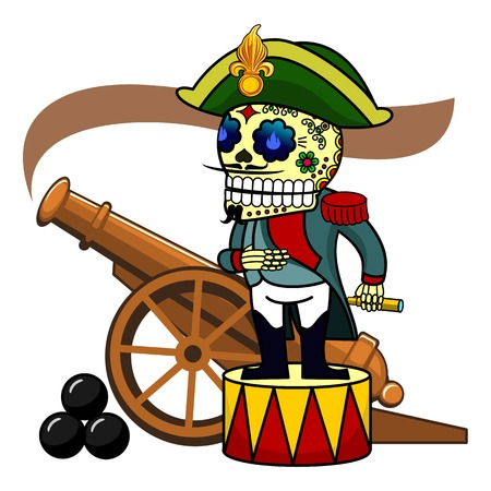 bonaparte: Commander Napoleon Bonaparte on the drum. Smoking old gun. Vector flat and linear Illustration of skeleton. Web banners, advertisements, brochures, business templates. Isolated on a white background. Illustration