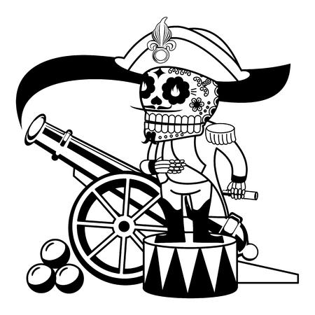 Comandante Napoleone Bonaparte sul tamburo. Fumo vecchia pistola. Vector piatta e lineare Illustrazione dello scheletro. banner web, pubblicità, opuscoli, modelli di business. Isolato su uno sfondo bianco.