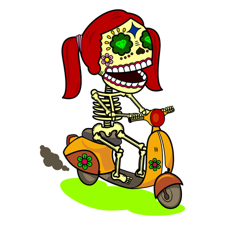 Girl riding on a scooter. Vector flat and linear Illustration of skeleton. Web banners, advertisements, brochures, business templates. Isolated on a white background. Illustration