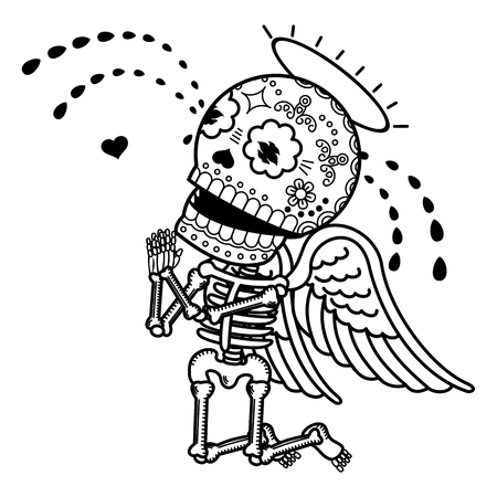 Love angel crying on his knees and begs forgiveness. Vector flat and linear Illustration of skeleton. Web banners, advertisements, brochures, business templates. Isolated on a white background. Illustration