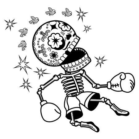 boxeur Vaincu est assommé. Oeil noir. Vecteur plat et linéaire Illustration du squelette. bannières Web, des publicités, des brochures, des modèles d'affaires. Isolé sur un fond blanc.
