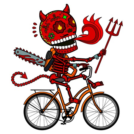 Demon with a chainsaw and a trident riding a bicycle. Vector flat and linear Illustration of skeleton. Web banners, advertisements, brochures, business templates. Isolated on a white background. 일러스트