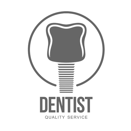 anesthesia: Vector logo on dental clinic. Tooth, dental implant, dental mirror. Web graphics, banners, advertisements, brochures, business templates. Isolated on a white background