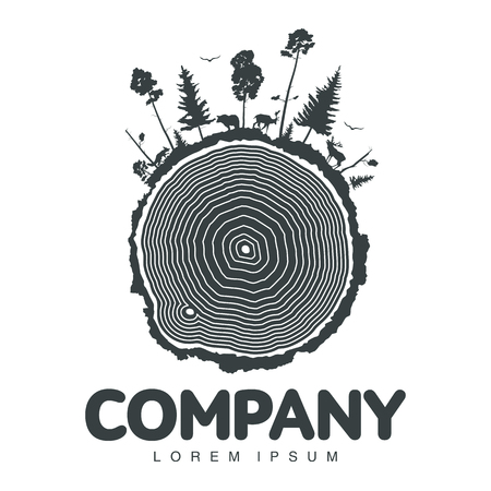 Vector logo. Different landscapes with pine trees and wild animals, forest silhouettes with deer, elk, fox. Company identity. Icon isolated on white background. Design editable for your design.