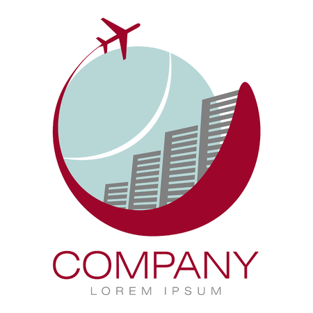 departure board: Vector abstract logo. Hotels and airliner. Tourism and travel. Company identity. Icon isolated on white background. Graphic design editable for your design.