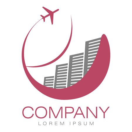 Vector abstract logo. Hotels and airliner. Tourism and travel. Company identity. Icon isolated on white background. Graphic design editable for your design.