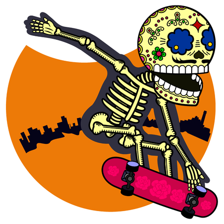 Skeleton jumping on a skateboard. Vector flat and linear. Illustration of skeleton. Web banners, advertisements, brochures, business templates. Isolated on a white background.
