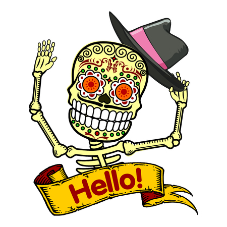 A man raises his hat and says Hello. Vector flat and linear Illustration of skeleton. Web banners, advertisements, brochures, business templates. Isolated on a white background.