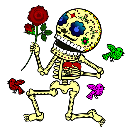 Love, kneeling, presents flower and declares his love. Vector flat and linear Illustration of skeleton. Web banners, advertisements, brochures, business templates. Isolated on a white background.
