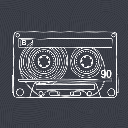 mc: Vector black and white illustration compact tape cassettes. Web graphics, banners, advertisements, stickers, labels, business templates, t-shirt. Isolated on a black background