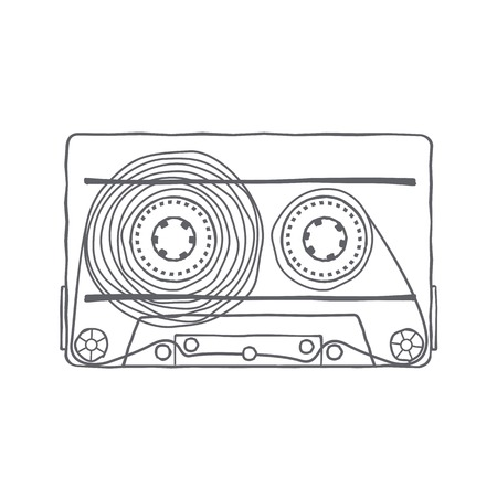 analogous: Vector black and white illustration compact tape cassettes. Web graphics, banners, advertisements, stickers, labels, business templates, t-shirt. Isolated on a white background Illustration