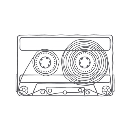 mc: Vector black and white illustration compact tape cassettes. Web graphics, banners, advertisements, stickers, labels, business templates, t-shirt. Isolated on a white background Illustration