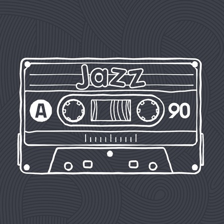 analogous: Vector black and white illustration compact tape cassettes. Web graphics, banners, advertisements, stickers, labels, business templates, t-shirt. Isolated on a black background