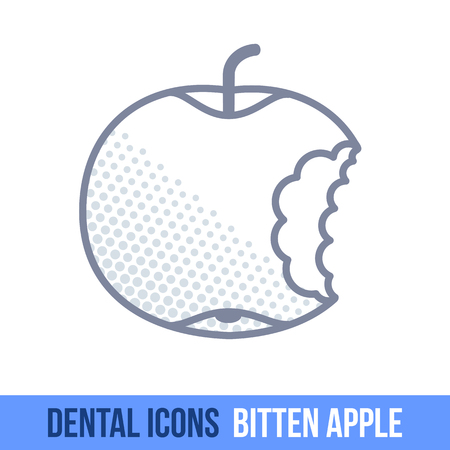 bitten: Vector line dental icon. Bitten apple. Brochures, advertisements, manuals, technical descriptions. Isolated on a white background