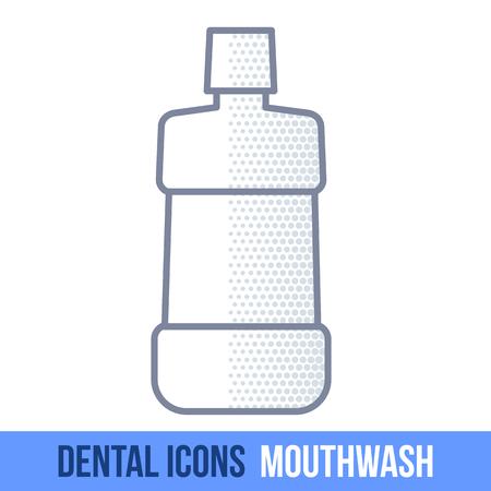 mouthwash: Vector de la línea icono dental. Enjuague bucal. Folletos, anuncios, manuales, descripciones técnicas. Aislado en un fondo blanco