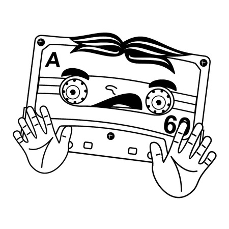 analogous: Vector illustration compact tape cassettes. Cartoon character. Pop muisic 80s. Web graphics, banners, advertisements, stickers, labels, business templates, t-shirt. Isolated on a white background