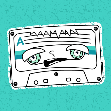 mc: Vector illustration compact tape cassettes. Cartoon character. Pop muisic 80s. Web graphics, banners, advertisements, stickers, labels, business templates, t-shirt. On a color background