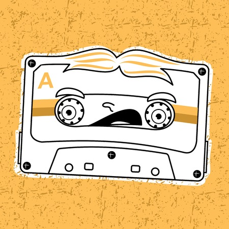 analogous: Vector illustration compact tape cassettes. Cartoon character. Pop muisic 80s. Web graphics, banners, advertisements, stickers, labels, business templates, t-shirt. On a color background