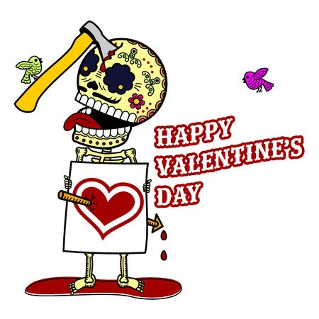 Vector illustration ard Happy Valentine s Day. Love heart. Flat and linear Illustration of skeleton. Web graphics, banners, advertisements, stickers, labels, business templates. On a color background