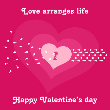 ard: Vector illustration ard Happy Valentine s Day. Love heart. Background With Hearts. Web graphics, banners, advertisements, stickers, labels, business templates. On a color background