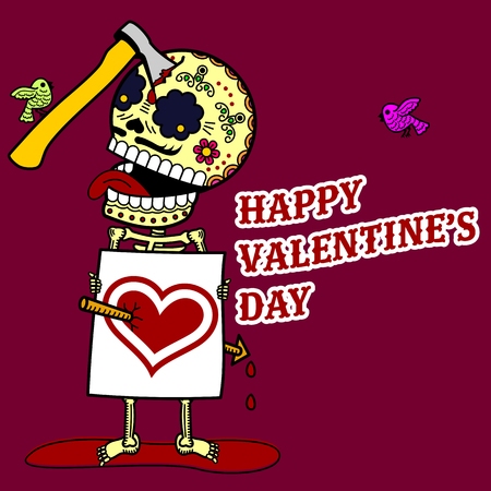 ard: Vector illustration ard Happy Valentine s Day. Love heart. Flat and linear Illustration of skeleton. Web graphics, banners, advertisements, stickers, labels, business templates. On a color background
