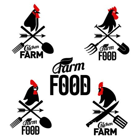 Vector set farm logo with a rooster and a farmers tools. Vector illustration. Web banners, advertisements, brochures, business templates. Isolated on a white background.